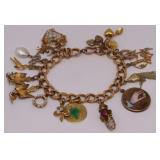 JEWELRY. Victorian 14kt Gold Charm Bracelet and 17