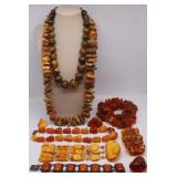 JEWELRY. Assorted Amber and Resin Jewelry.