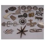 JEWELRY. Modernist Silver Jewelry, Many Signed.