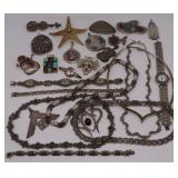 JEWELRY. Assorted Sterling Jewelry Grouping.