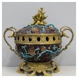 Antique Gilt Bronze Mounted Lidded Urn