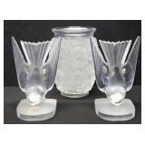 Lalique France Signed Pair Of Doves Together