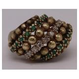 JEWELRY. 14kt Gold, Diamond, and Emerald Ring.