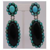 JEWELRY. Pair of Signed Sterling, Turquoise and
