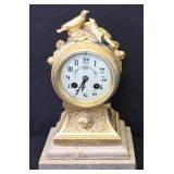 French Gilt Bronze Mantel Clock With Dove