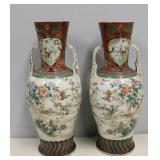 Pair Of Antique Enamel Decorated Porcelain Handled
