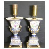 Pair Of Old Paris Porcelain Urns As Lamps