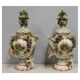 Pair Of Meissen Style Lidded Floral And