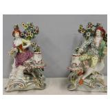A Pair Chelsea Porcelain Figural Candle Holders.