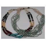 JEWELRY. (2) Southwest Heishe Beaded Necklaces.