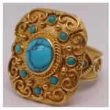 JEWELRY. 18kt Gold and Turquoise Cocktail Ring.