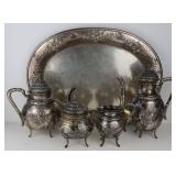 SILVER. 4 Pc. German .800 Silver Tea Set and Tray