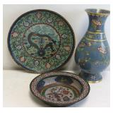 Antique Cloisoinne Charger ,Bowl  And Urn .
