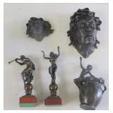 Lot Of 5 Antique Bronze Sculptures.
