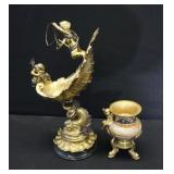 Antique Gilt And Silver Gilt Shell With Cherubs