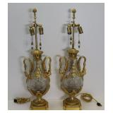 Fine Quality Pair Of Gilt Bronze & Cut Glass Lamps