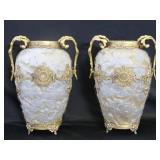 Pair Of Gilt Metal Mounted Cameo Style Glass