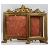 (2) French Gilt Bronze Frames with Paw Feet.