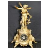 Antique Gilt Metal Louis XV Style Figural Clock.