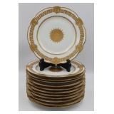 (12) Haviland Limoges Heavy Gilt Decorated Dinner