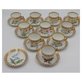 (10) Royal Copenhagen Flora Danica Teacups and