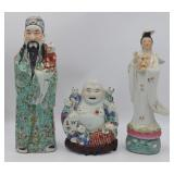 (3) Assorted Enamel Decorated Porcelain Figures.