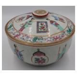19th C Famille Rose Covered Bowl with Figures.