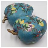 Chinese Cloisonne Double Peach Lidded Box.