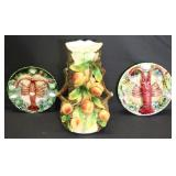 Majolica Lot Of 2 Lobster Plates and A Tree vase.