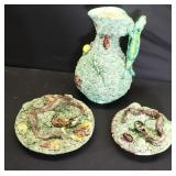 Majolica Lot of 2 Plates and a Jug.