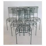 Set Of 6 Vintage Enameled Iron Chairs.
