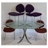 Midcentury Chrome And Glass Table and 4 Chairs