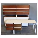 Midcentury Bedroom Set with Enameled Metal Frames