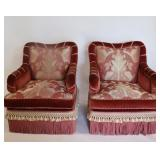 Vintage Pair Of Art Deco Style Upholstered