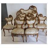 Antique 9 Piece Carved And Upholstered