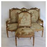 Finest Quality Louis XV1 Style Two Bergeres And