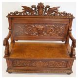 Possibly Horner Highly Carved Oak Bench With