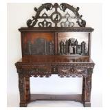 Antique Italian And Highly Carved Stepback Cabinet