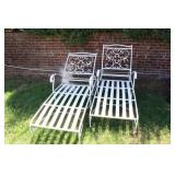 Pair Of Fine Quality Iron Chaise Lounges Signed
