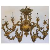 Large Gilt Bronze Victorian Chandelier