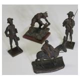 4 Antique Bronze Cabinet Sculptures .
