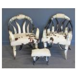 Pair Of Vintage And Fine Quality Hide Upholstered