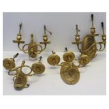 2 Pairs Of Caldwell Quality Gilt Bronze Sconces.