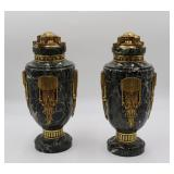 Pair Of Art Deco Gilt Bronze And Marble Urns.