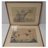 2 Framed And Signed Asian Prints Of Birds .