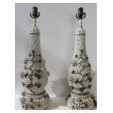 Pair Of Porcelain Floral Decorated Lamps
