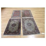 2 Prs  Of Vintage & Fnely Hand Woven Area Carpets