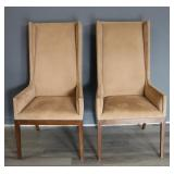Fine Quality And Vintage Pair Of High Back Chairs