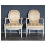 Pair Of White Painted Louis XV 1 Style Arm Chairs