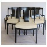 BAKER, Signed Set Of 6 Ebonised Chairs.
